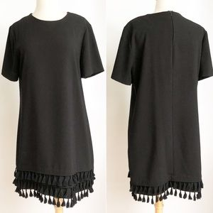 Like New Zara Woman Black Fringe Shift Dress